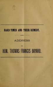 Cover of: Hard times and their remedy