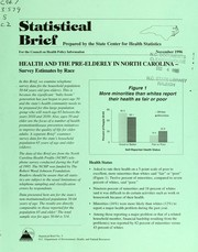 Cover of: Health and the pre-elderly in North Carolina-- | North Carolina. State Center for Health Statistics