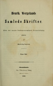 Cover of: Henrik Wergelands samlede skrifter