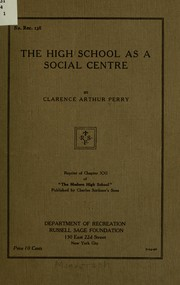 Cover of: The high school as a social centre