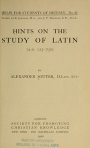 Cover of: Hints on the study of Latin (125-750 A.D.)