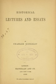 Cover of: Historical lectures and essays |