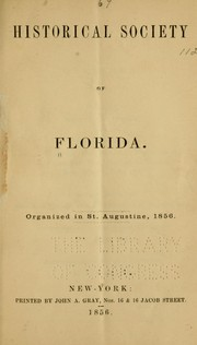 Cover of: Historical society of Florida. | Florida. Historical society