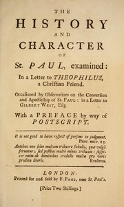 Cover of: The history and character of St. Paul