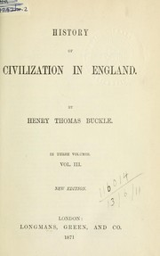 Cover of: History of civilization in England