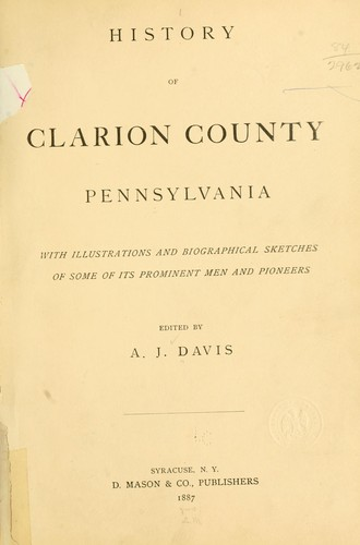 History of Clarion County, Pennsylvania by