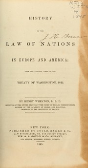 Cover of: History of the law of nations in Europe and America