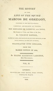 Cover of: The history of the life of the squire, Marcos de Obregon | Vicente Espinel