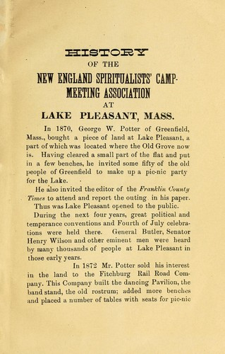 History of the New England Spiritualist Campmeeting Association at  Lake Pleasant, Mass. by Henry Aaron Budington