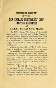 Cover of: History of the New England Spiritualist Campmeeting Association at  Lake Pleasant, Mass. by Henry Aaron Budington