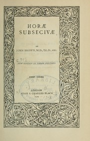 Cover of: Horae subsecivae