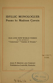 Cover of: Idyllic monologues: poems