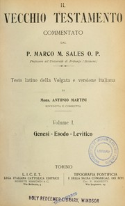 Cover of: Il Vecchio Testamento by Marco Sales