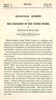 Cover of: Inaugural address of the President of the United States on the fourth of March, 1861
