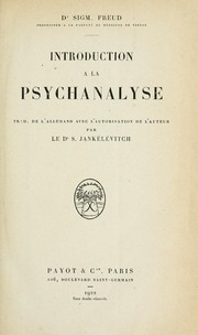 Cover of: Introduction a la psychanalyse