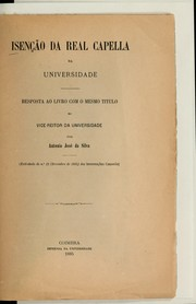Cover of: Isenção da Real Capella da Universidade