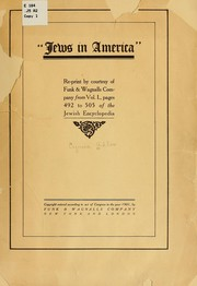 "Cover of: ""Jews in America"""