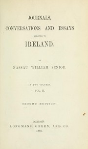 Cover of: Journals, conversations and essays relating to Ireland