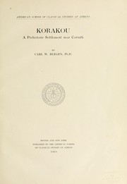 Cover of: Korakou | Blegen, Carl William