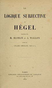 Cover of: La logic subjective de Hegel