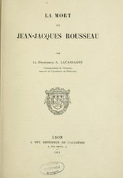 Cover of: La Mort de Jean-Jacques Rousseau