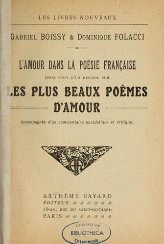Lamour Dans La Poésie Française 1921 Edition Open Library