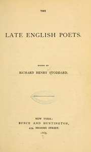 Cover of: The late English poets |