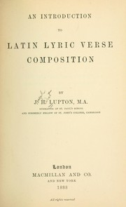 Cover of: An introduction to Latin lyric verse composition