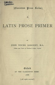 Cover of: A Latin prose primer