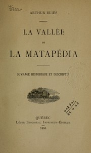 Cover of: La vallée de la Matapédia