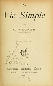 Cover of: La vie simple