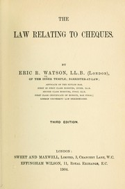Cover of: The law relating to cheques