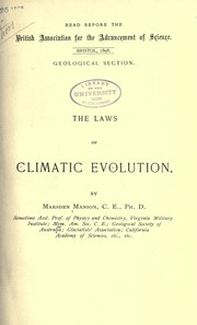 Cover of: The laws of climatic evolution
