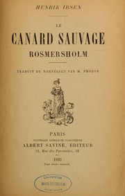 Cover of: Le canard sauvage rosmersholm