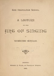 Cover of: A lecture on the art of singing | Vincenzo Cirillo