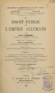 Cover of: Le droit public de l'Empire allemand