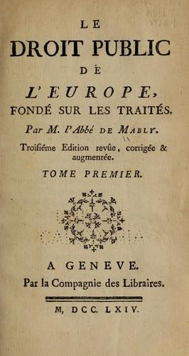 Le droit public de l'Europe