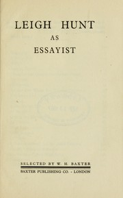 Cover of: Leigh Hunt as essayist