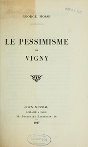 Cover of: Le pessimisme de Vigny