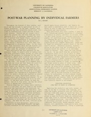 Cover of: Post-war planning by individual farmers | R. L. Adams