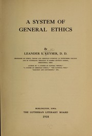 Cover of: A system of general ethics
