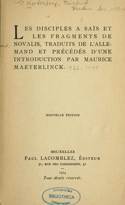 Cover of: Les disciples à Saïs et les fragments de Novalis