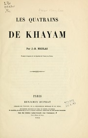 Cover of: Les quatrains de Khayam