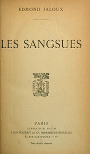 Cover of: Les Sangsues