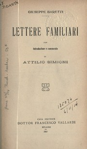 Cover of: Lettere familiari