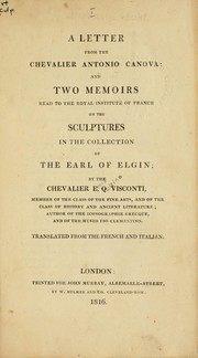 Cover of: Letter from Antonio Canova