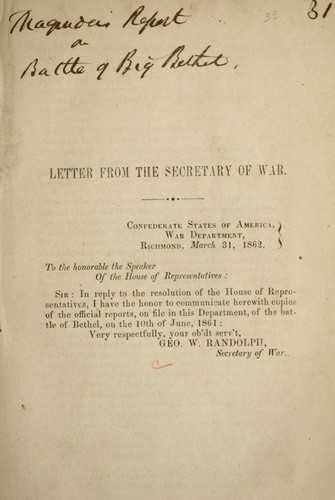 Letter from the Secretary of War by Confederate States of America. War Dept.