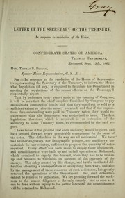 Cover of: Letter of the Secretary of the Treasury: in response to resolution of the House
