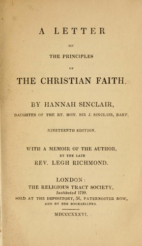 A letter on the principles of the Christian faith