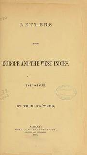 Cover of: Letters from Europe and the West Indies, 1843-1852